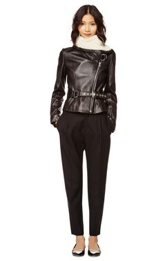 Shearling-Trimmed Belted Leather Jacket by Bouchra Jarrar Now Available on Moda Operandi, $5120