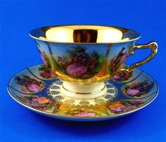 Rich Gold Handpainted Fragonard Love Story Bavaria Beehive Germany Tea Cup and S