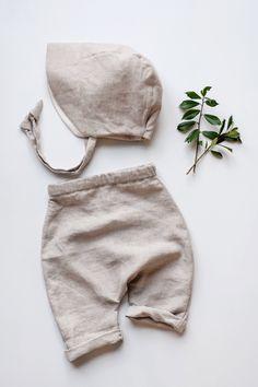 Handmade Linen Baby Pants & Bonnet | Gypsyandfree on Etsy