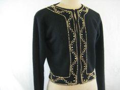 Vintage Black Beaded Cropped Cardigan Lambswool Angora Sweater Jacket Size S | eBay