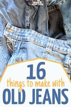 16 of the best recycled denim crafts Make super easy crafts from old jeans! These 16 recycled denim crafts and DIY ideas are perfect for upcycling and repurposing old clothing. They make great teen crafts too :] Diy Jeans, Sewing Jeans, Diy Upcycling Jeans, Diy With Jeans, Recycle Old Clothes, Diy Clothes, Diy With Old Clothes, Recycled Denim Crafts, Recycled Clothing