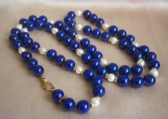 Fabulous Authentic 14K TIFFANY & CO Lapis Lazuli Pearl Necklace 27 1/2""