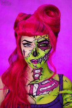New Zombie Pop Art Costume 30 Ideas Zombie Make Up, Pop Art Zombie, New Zombie, Pop Art Makeup, Face Paint Makeup, Crazy Makeup, Fx Makeup, Makeup Ideas, Halloween Makeup Looks
