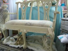 NeW pRiCe  Marie Antoinette Style Bench, Hand Carved with Shabby Chic Finish. $625.00, via Etsy.
