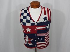 Vintage July 4 Patriotic Flag Red White Blue Vest UGLY CHRISTMAS SWEATEr Girls XL Womens Small S Limited Too Independence Day Sweater Vest by UglySweaters4U on Etsy