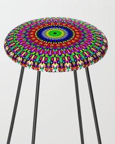 Colorful Bohemian Petal Mandala Counter Stool by David Zydd Extra Tall Bar Stools, Bedroom Decor, Wall Decor, Flower Mandala, Mandala Coloring, Boho, Counter Stools, Floral Design, Furniture Design