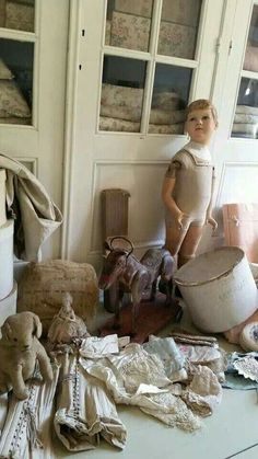 """Textile Treasures and a """"Handsome young fellow mannequin"""" French Rustic Decor, Childhood Images, Shabby Chic Accessories, Shaby Chic, Flea Market Finds, Old World Charm, Shabby Vintage, French Antiques, Decoration"""