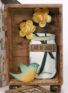 Adorable #matchbox #birdhouse made by Kay Williamson with the Adirondacks collection! #clubscrap #minialbum #masonjar
