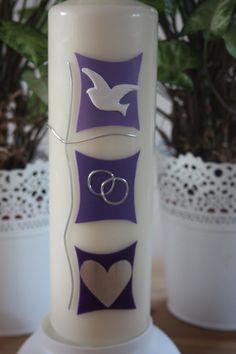 Hochzeitskerzen & Beleuchtung - Hochzeitskerze, Traukerze Symbole im Quadrat - ein Designerstück von Lichtblicke-Kerzen bei DaWanda