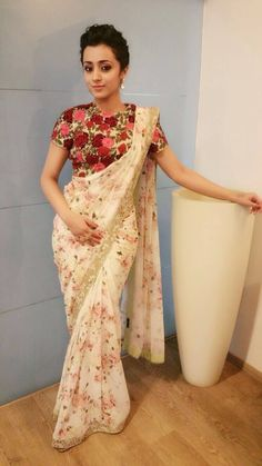 36 Printed Blouse Designs for sarees with trendy neck patterns Bling Sparkle