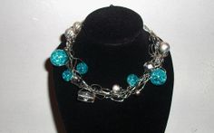 Blue and Silver wire crocheted beaded Jewelry by erasemydreams24
