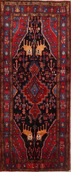 Vintage Geometric 10 ft Runner Hamedan Persian Oriental Tribal Wool Rug x Carpet Runner, Rug Runner, Persian Rugs For Sale, Tribal Lion, Hallway Runner, Kitchen Rug, Rugs Online, Oriental Rug, Bohemian Rug