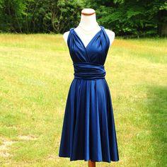 Convertible Dress / infinity dress/ bridesmaids dress NAVY  Want tea length would be $100