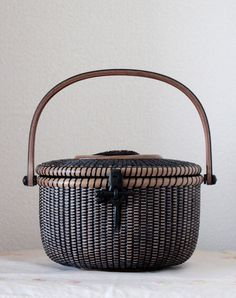 Nantucket basket 8 inch Oval  All Black