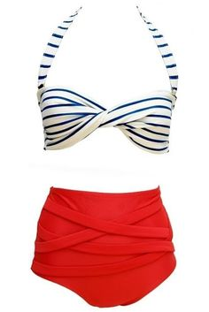 Monaco X High Waisted Bikini from Soak Swimwear, or ruched high-waist red bottoms, and navy striped halter top