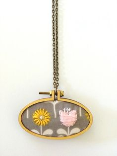 Mini Embroidery Hoop Pendant Tulip and Daisy Hand by bleuroo