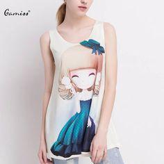 GAMISS 2016 New Fashion Women Tank Tops Summer Sweet Tees Women Girl Print Round Collar Sleeveless T-shirt Casual Women Clothing