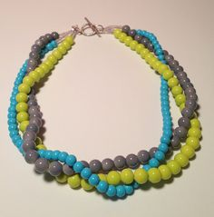 Turquoise/Aqua Blue Lime Green & Gray Beaded Twisted Necklace