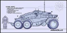 UT Hellbender by James Hawkins on ArtStation. Gears Of War, James Hawkins, Future Transportation, Sci Fi Ships, Cool Gear, Futuristic Cars, Science Fiction Art, Concept Cars, Monster Trucks