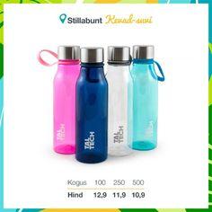 Joogipudelid oma disainiga pakendis. Hind koos pakendi ja 1 värvi trükiga pudelil. Lisandub KM. Water Bottle, Drinks, Drinking, Beverages, Water Bottles, Drink, Beverage