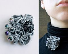 Grey Coral Brooch by ulaniulani Free-form crochet at its best!