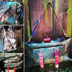 tourist hand made old leather bag / art pics