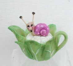 1/12TH scale  Cawlyflower and tiny snail teapot  BY LORY by 64tnt