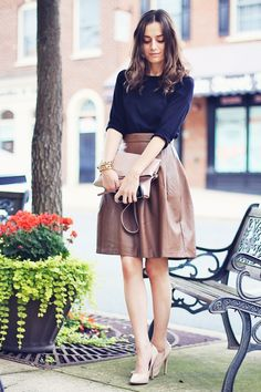 Classy and fabulous: A Certain Romance. Black top with neutral pink leather skirt.