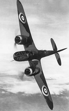 JUN 11 1940 RAF bomber crew find welcome in gloomy France - See more at: http://ww2today.com/Bristol Blenheim Mk IV in flight, banking steeply towards the camera aircraft, circa 1940.