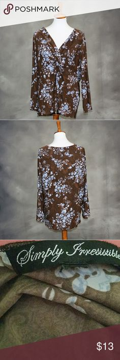 Simply Irresistible Brown & blue floral top Simply Irresistible Brown & blue floral long sleeve. Excellent condition aside from a missing size tag - this is a L. Super soft. Made in USA. Simply Irrisitable  Tops Blouses