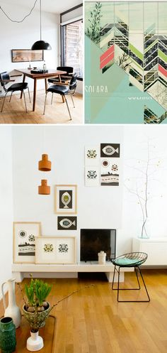 black dinette set by peter kragballe photography paired with amazing modern artwork from dawn gardner and a very mid-century modern stool a la bertoia    Love this whole collage.