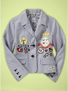DVF Blazer from GapKids - Inspiration for: black-on-grey tonal background (stripes or chevron), pop-icon patterned paper punched hearts or banners with thick black outline, lime green embellishments