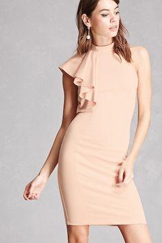 ColorL Blush. $45 High Neck One-Shoulder Dress
