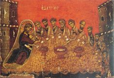 Holy and Great Thursday. The Mystical (Last) Supper. Fresco in Vatopedi Monastery, Mt. Athos.