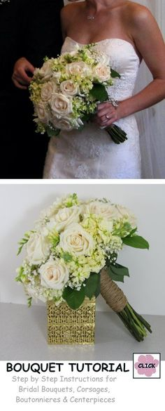 How to Make a Mock Hand Tied Wedding Bouquet - step by step instructions.  Buy professional wedding supplies needed to make this bouquet.