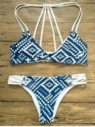 #Gamiss - #Gamiss Geometric Print Strappy Bikini - AdoreWe.com