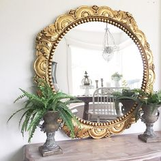 Ornate Round Mirror Gold Wall Hanging Mirror 42 inch Convex Mirror or Chalkboard