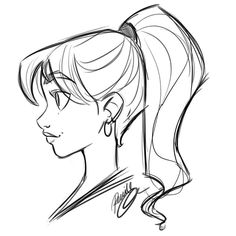 Only had a few minutes but wanted to do a quick post. Now off to dinner and a movie with the girls! Girl Drawing Sketches, Cartoon Girl Drawing, Cool Art Drawings, Pencil Art Drawings, Drawing Faces, Doodle Sketch, Drawing Hair, Face Side View Drawing, Drawing Tips