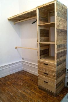 DIY Pallet Corner Closet | DIY pallets corner cupboard or closet is best idea for small bedrooms. (Dunway Enterprises) For more info (add http:// to the following link) www.dunway.info/pallets/index.html