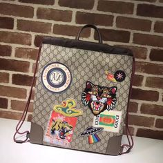 Gucci unisex woman man drawstring shoulders bag backpack