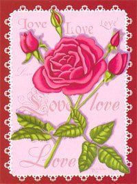 "Love Stamp Rose Valentine's Day Large Flag by Custom Décor, Inc.. Save 70 Off!. $7.19. Dimensions: 28"" x 40"". Pole hem and attachment tab. The Love Stamp Valentines Flag features a postage stamp design that has a beautiful array of pink roses on it. It is sure to be the perfect addition to your house this Valentine's Day! Made in the U.S.A. Made of polyester. Measures: 28"" x 40"""