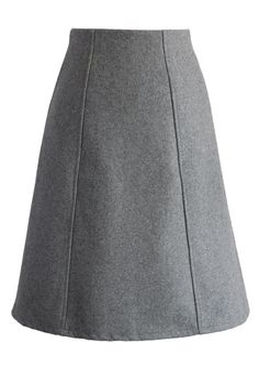 Classy Wool-blend A-line Skirt in Grey - Retro, Indie and Unique Fashion