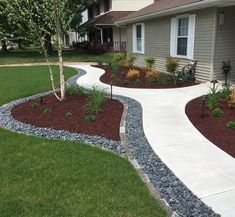 Front Porch Landscape, Small Front Yard Landscaping, House Landscape, Landscape Design, Sidewalk Landscaping, Landscaping With Rocks, Outdoor Landscaping, Outdoor Gardens, Garden Yard Ideas