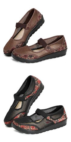 5bbbf1f5836 Big Size Mesh Breathable Flower Printing Wedge Heel Loafers is cheap and  comfortable. There are other cheap women flats and loafers online.