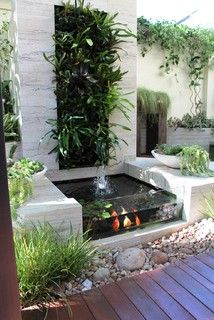 24 indoor pond fish ideas you can try in your home Having a fish pond is definitely worth it as the noise from the water installation is really peaceful. The colorful fish that move here … Garden Backyard Water Feature, Ponds Backyard, Backyard Patio, Backyard Landscaping, Modern Water Feature, Patio Pond, Outdoor Ponds, Koi Pond Design, Landscape Design