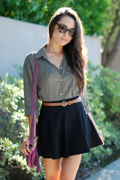 Skirt is too short but it's cute. Tucked in shirt and high waisted skirt