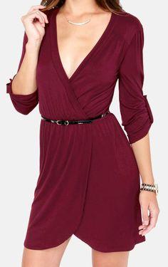 Burgundy Wrap Dress #fallstyle
