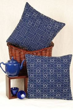 Lotus Blossoms and Wickerwork sashiko stitching pattern for 2 cushions shown $11.99