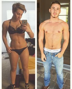 Transgender man openly shares before and after transition images Transformation: Musician Jaimie Wilson transitioned from a woman to a man after coming out as transgender. He is pictured before (left) and after (right his transition Transgender Ftm, Transgender Pictures, Transition Images, Transgender Before And After, Mtf Before And After, Trans Gender, Lgbt Community, Pole Fitness, Fitness Logo