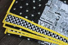 PROŠÍVANÉ DEKY | Černobílá prošívaná deka se žlutým lemem | LÁTKY METRÁŽ | PATCHWORK | GALANTERIE